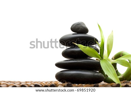 Zen concept with bamboo and stone - alternative medicine and treatment - stock photo