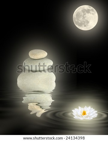 Zen garden abstract of glowing gray spa stones, white japanese lotus lily and full moon with reflection over rippled water, over black background.