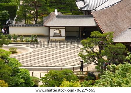 Zen garden of the Silver pavilion (Ginkaku-ji, Kyoto)
