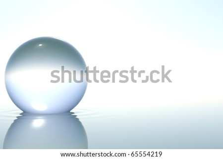 Zen glass sphere in zen water on white background