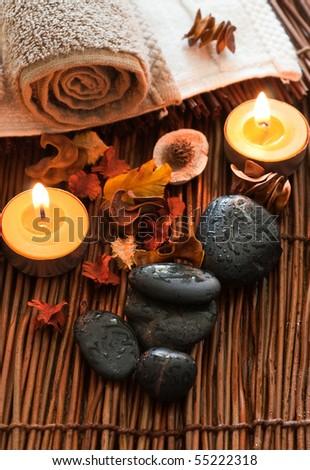 Zen like spa wit black stones - stock photo