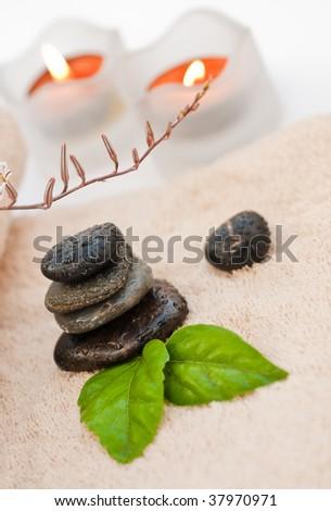 Zen-like SPA with black stones