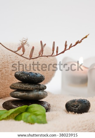 Zen-like SPA with black stones