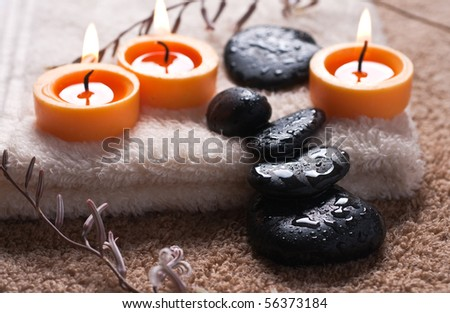 Zen like spa with black stones