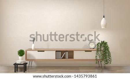 zen modern empty room,minimal design japanese style. 3d rendering