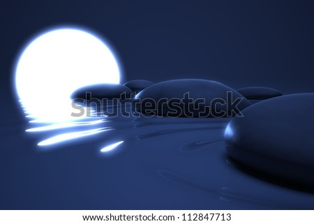 Zen moon glows on  stones in the water in night background