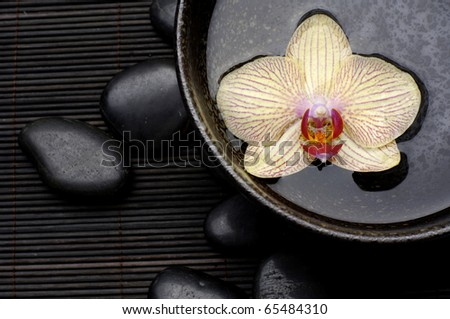 Zen Still Life -orchid floating in wooden bowl with stones on mat