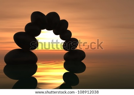 Zen stone arch into the water with sunset on the background