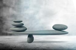 Zen stone balance concept, beauty stone stack on asphalt
