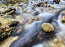 Zen stone over a running stream in Malaysian jungle