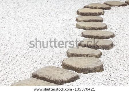 Zen stone path in a Japanese Garden