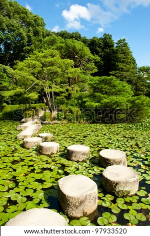 Zen stone path in a Japanese Garden near Heian Shrine.Stones are surrounded by lotus leaves