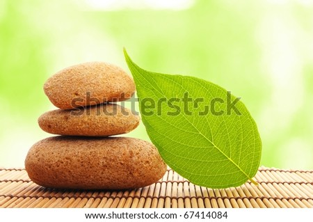 zen stone with leaf and bokeh copyspace showing spa concept