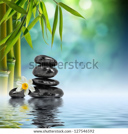 Zen Stones and Bamboo on the water