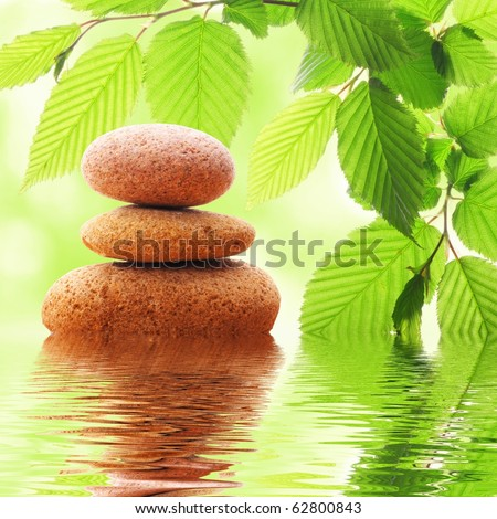 zen stones and green leaves showing spa concept with water reflection - stock photo