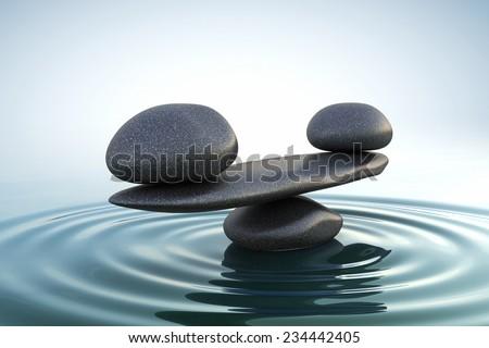Zen stones balance. Sunrise
