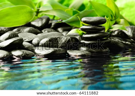 zen stones in the water