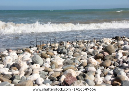 Zen stones on a pebble beach. Relaxation and tranquility atmosphere #1416549656