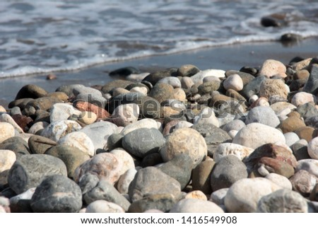 Zen stones on a pebble beach. Relaxation and tranquility atmosphere #1416549908
