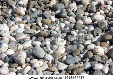 Zen stones on a pebble beach. Relaxation and tranquility atmosphere #1416549917