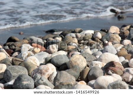 Zen stones on a pebble beach. Relaxation and tranquility atmosphere #1416549926