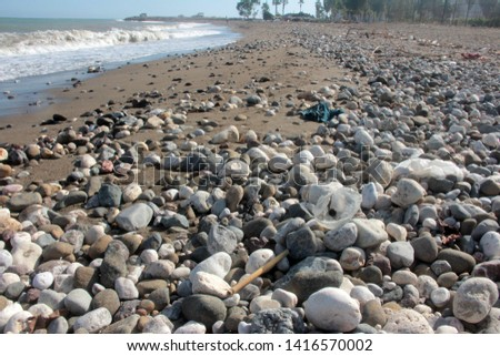Zen stones on a pebble beach. Relaxation and tranquility atmosphere #1416570002