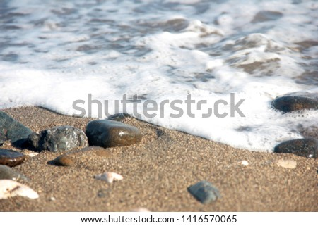 Zen stones on a pebble beach. Relaxation and tranquility atmosphere #1416570065