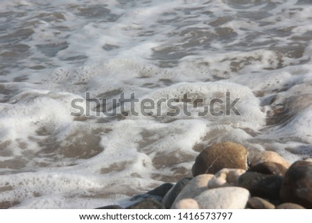 Zen stones on a pebble beach. Relaxation and tranquility atmosphere #1416573797
