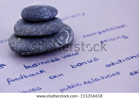 zen stones stacked surrounded by business words