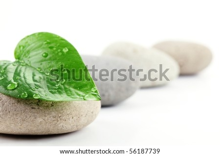 Zen stones with leaf,isolated on white.