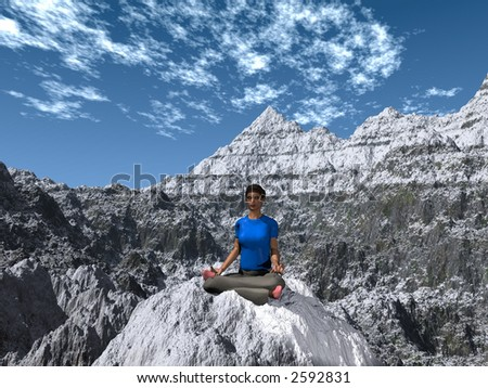 zen yoga on a mountain top with blue sky and clouds