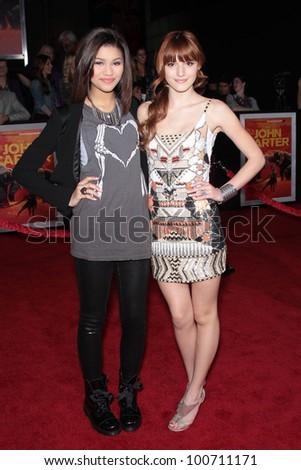 "Zendaya and Bella Thorne at the ""John Carter"" Los Angeles Premiere, Regal Cinemas, Los Angeles, CA 02-22-12 - stock photo"