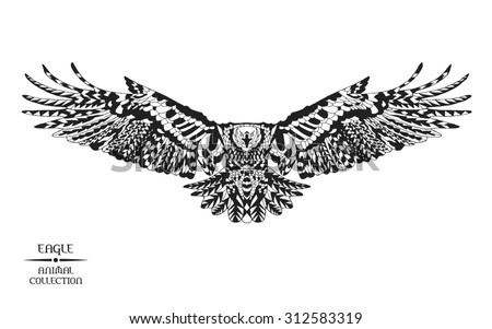 Zentangle stylized eagle. Animal collection. Black and white hand drawn doodle. Ethnic patterned vector illustration. African, indian, totem tatoo design. Sketch for tattoo, poster, print or t-shirt.