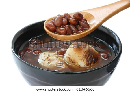 Zenzai , Traditional Japanese Dessert , A Bowl of Red Bean Sweet Soup with Rice cake