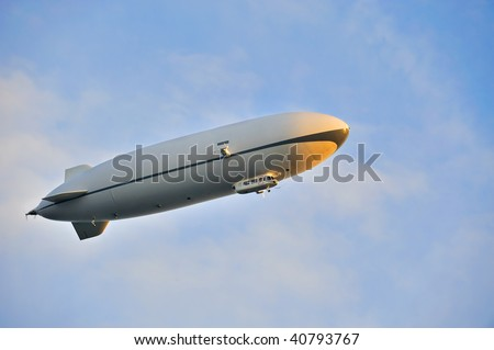Zeppelin airship in the blue sky
