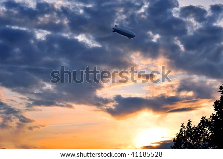 zeppelin in the dramatic sunset sky