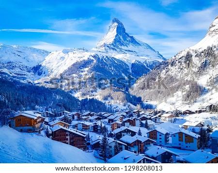 Zermatt in front of the Matterhorn. Winter in Switzerland.
