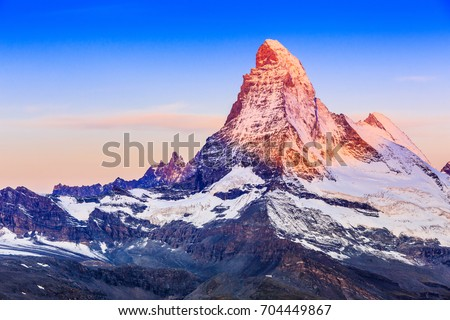 Zermatt, Switzerland. East and north faces of the Matterhorn at sunrise. #704449867