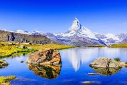 Zermatt, Switzerland. Matterhorn peak reflected in Stellisee Lake, Canton of Valais.