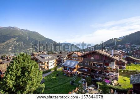 Zermatt, Switzerland, the famous ski resort town in the Swiss Alps at the base of the Matterhorn.