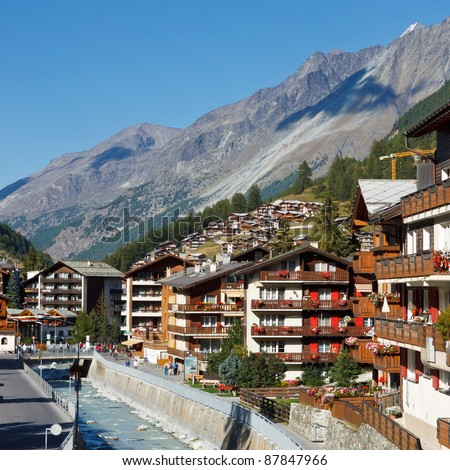 Zermatt, Switzerland, the famous ski resort town in the Swiss Alps at the base of the Matterhorn.
