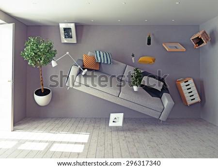 zero-gravity interior. 3d creative concept stock photo
