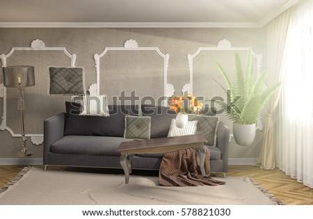 Zero Gravity Sofa hovering in living room. 3D Illustration #578821030