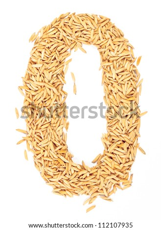 zero, number, alphabet,Letter from Paddy rice on white