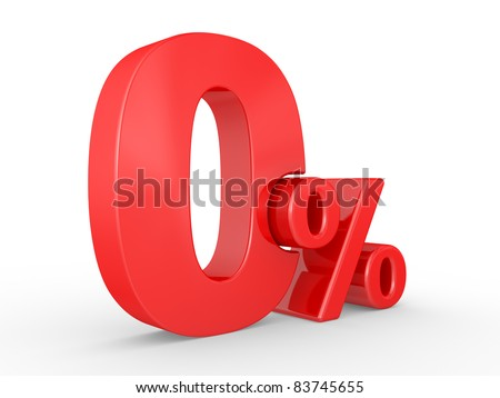zero percent on white background. 0%