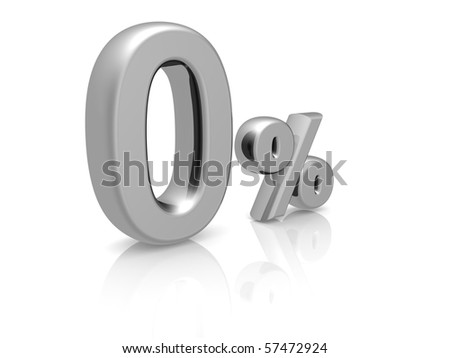 Zero percents discount symbol with reflection isolated white background