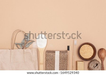 Zero waste bathroom accessories, natural sisal brush, wooden comb, deodorant, shea butter, solid soap and shampoo bars, reusable cotton make up removal pads