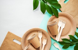 Zero waste, environmentally friendly,  disposable,  cardboard, paper tableware. View from the top.