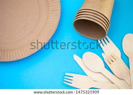 Zero waste, environmentally friendly, plastic without a background, disposable tableware, cardboard tableware, paper tableware, space for text, view from the top. Save the planet. #1475321909