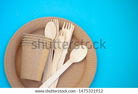 Zero waste, environmentally friendly, plastic without a background, disposable tableware, cardboard tableware, paper tableware, space for text, view from the top. Save the planet. #1475321912